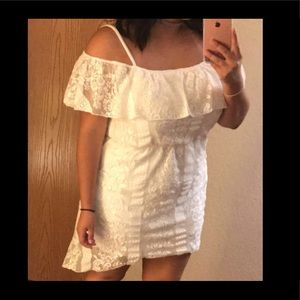 High low off the shoulder white lace dress